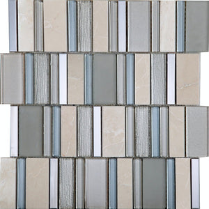 Stripes Champagne Mosaic - Discount Tile Supplies