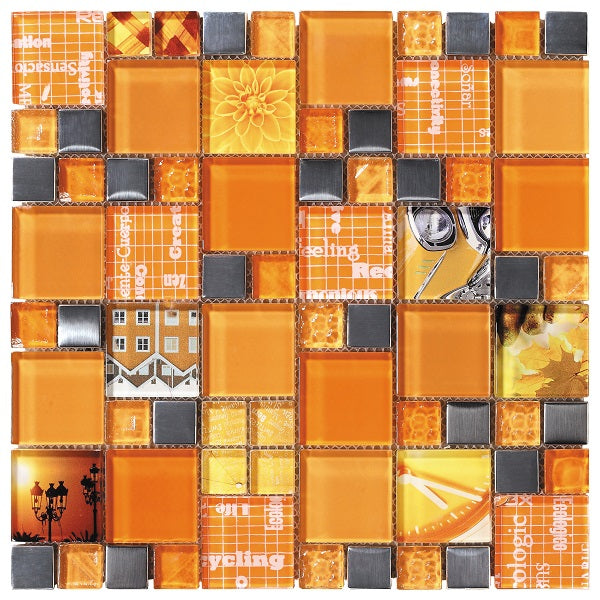 Carnaval Orange Mosaic - Discount Tile And Stone Warehouse
