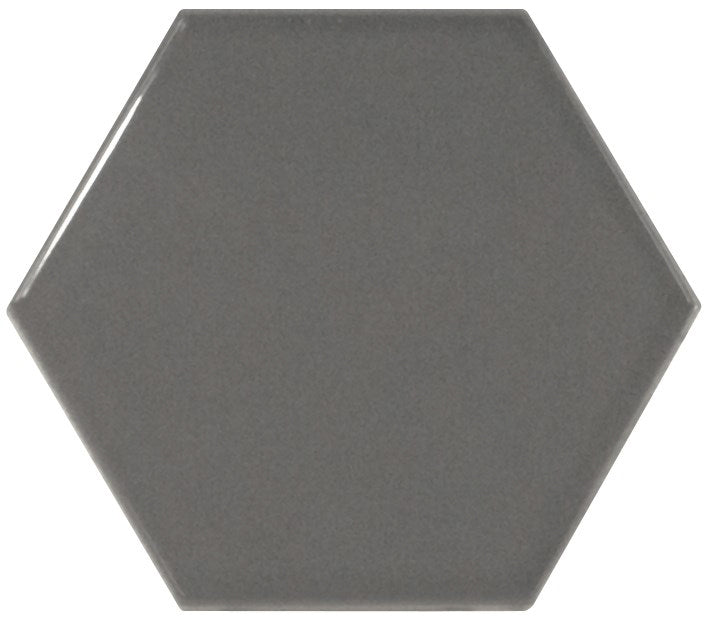 Hexagon Dark Grey Gloss Wall Tile