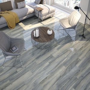 Time Blue Wood Effect Gloss Floor Tile - Discount Tile Supplies