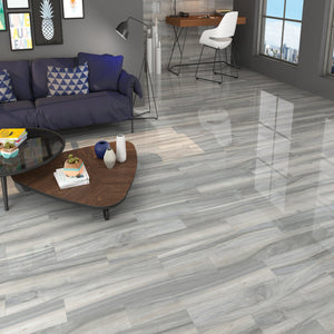 Time Grey Wood Effect Gloss Floor Tile - Discount Tile And Stone Warehouse