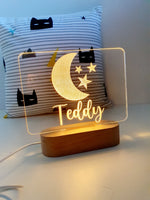 Coloured Personalised Acrylic Light with wooden base and dimmer switch