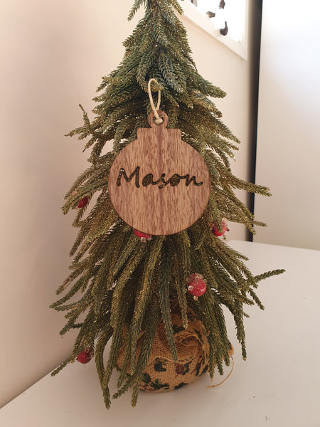 Oak Personalised Christmas Bauble