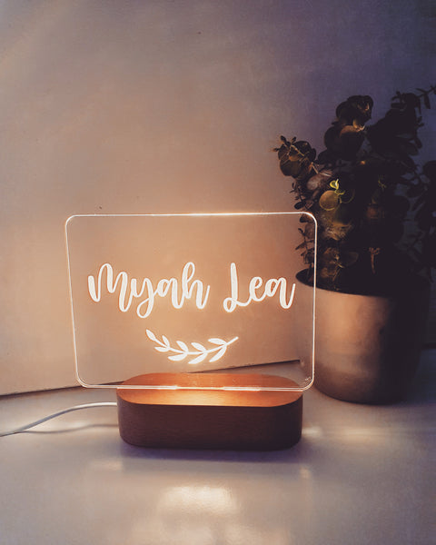 Personalised Acrylic Light with wooden base