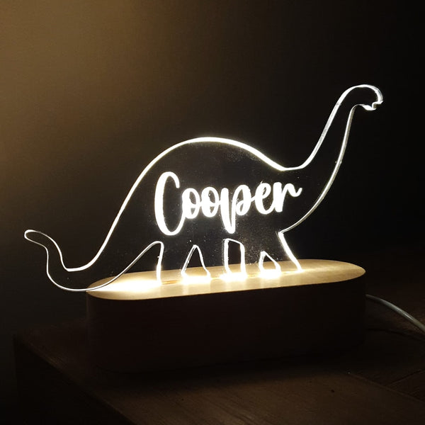 Coloured Personalised Acrylic Light Shapes with wooden base and dimmer switch