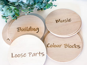 Round wooden toy tags