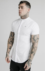 SikSilk Men's S/S Grandad Collar Shirt