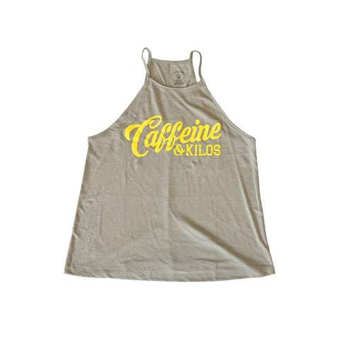 Caffeine & Kilos Ladies Script Logo High Neck Tank
