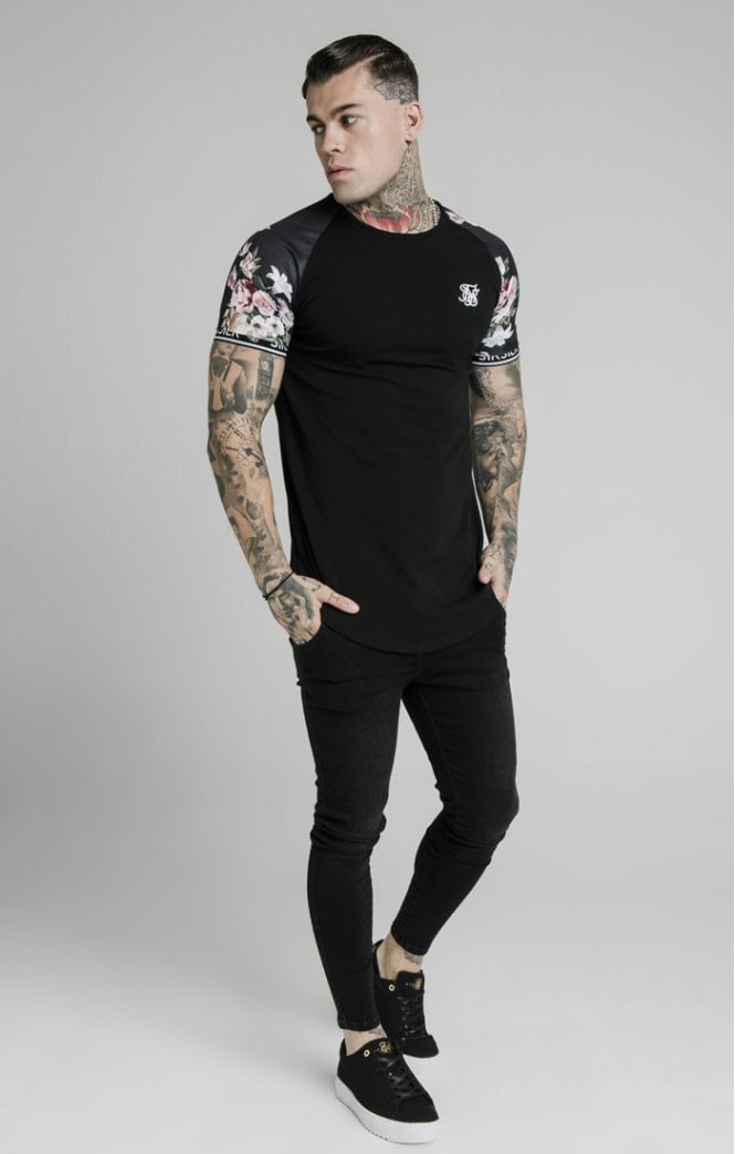 SikSilk Men's S/S Prestige Floral Inset Tech T-Shirt