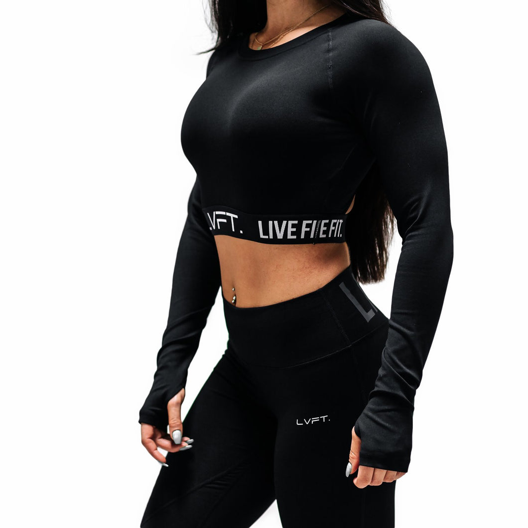 LVFT Ladies Retro Boom Long Sleeve Crop Top