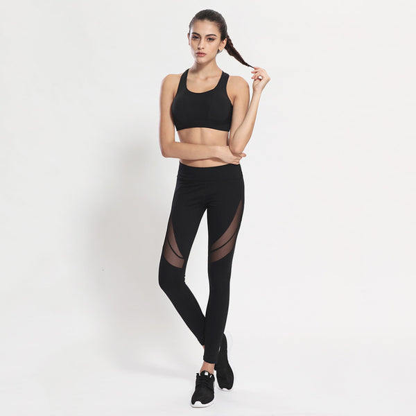 Women Fitness Pants Elastic Waist Pencil Pants Sports Hip Up Leggings Fitness Mesh Design Breathable Black