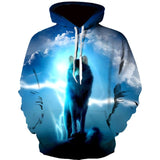 New Fashion Hoodies Men Long Sleeve Fashion Ice and Fire Eyes Wolf Printed Men Sweatshirt Streetwear Clothes Harajuku Hoodie