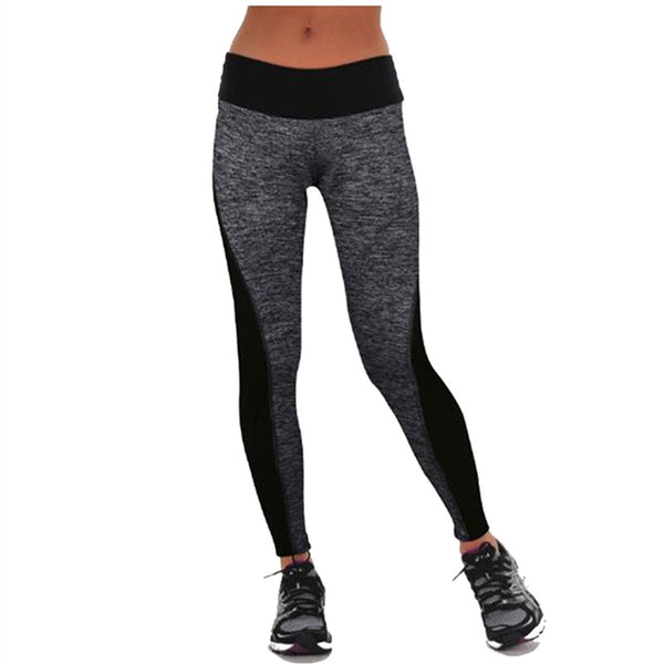 Fitness Women Workout Pants Leggings Casual High Waist Black/Gray Hit Color Leggins Quick-drying Trousers