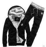 Men's Winter Sportswear Thick Velvet Sweatshirt Men Set Patchwork Hoodies  Casual Tracksuit Mens Sweat Casual Suits