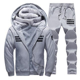 Sporting Suit Men Winter Tracksuits gray Men's Sets Thicken Fleece Plus Size XXXXL Hoodies+Pants Sweat Suit Outwear Style Hoodie