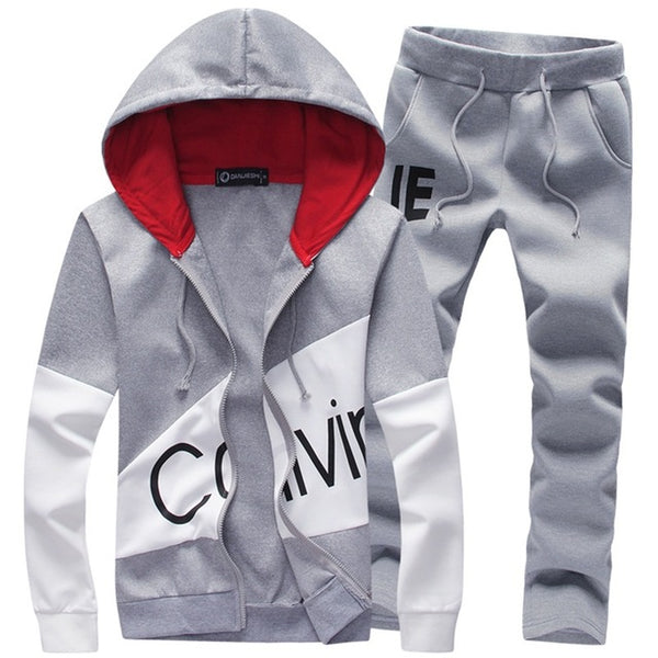 3c0e2f4f73d Casual sporting suit men warm hooded tracksuit track polo men s sweat suits  set zipper patchwork letter