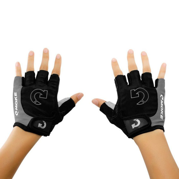 MOKE Sports Padded Microfiber Half Finger Fixed Gear Cycling Fitness Gloves Riding MTB Road Bike Bicycle Motorcycle Gloves