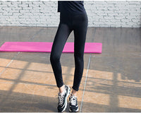 Women's Running Leggings Yoga Pants Workout Tights Quick Dry Elastic Sports Fitness Pants Reflective Prints for Night Runner
