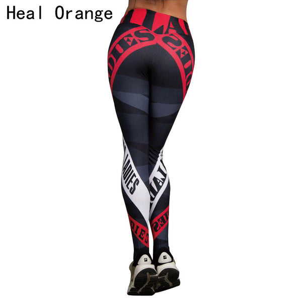 HEAL ORANGE Yoga Pants Fitness Leggings Sports Elastic Breathable Compression Female Tights Running Sexy Slim Crackle Printed