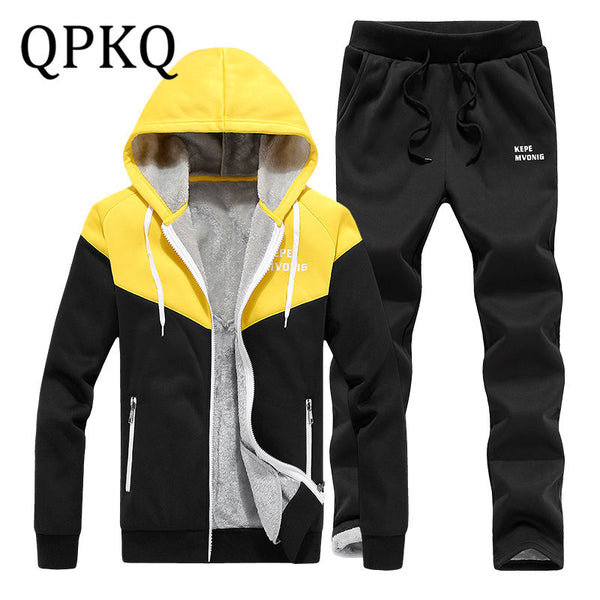 Men Hooded Track Suit Mens Tracksuit Set Jackets 2 Piece Set