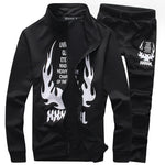 Zipper polo sweat suits men set track letter Flame print tracksuit survetement