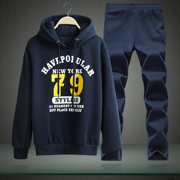Hooded Tracksuit Men Letter Printed Two Piece Set Men's Sportswear Suit Pullover Hoodie Jogger