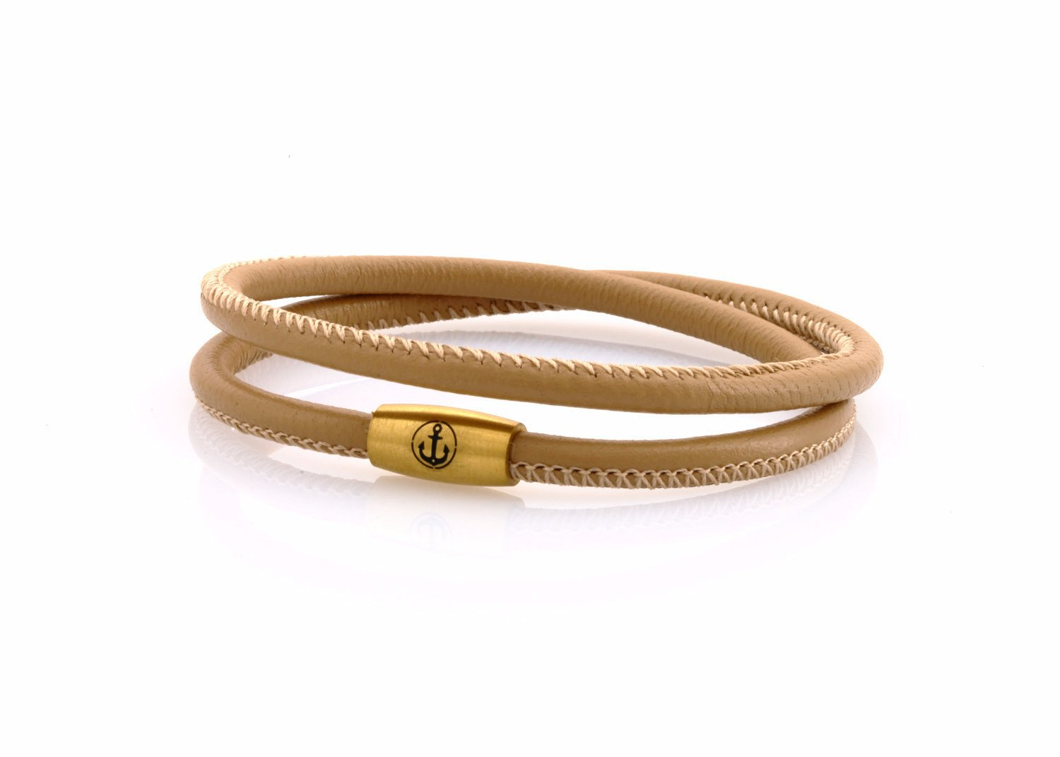 neptn women bracelet JUNO Anchor Gold double 4 cappuccino nappa leather