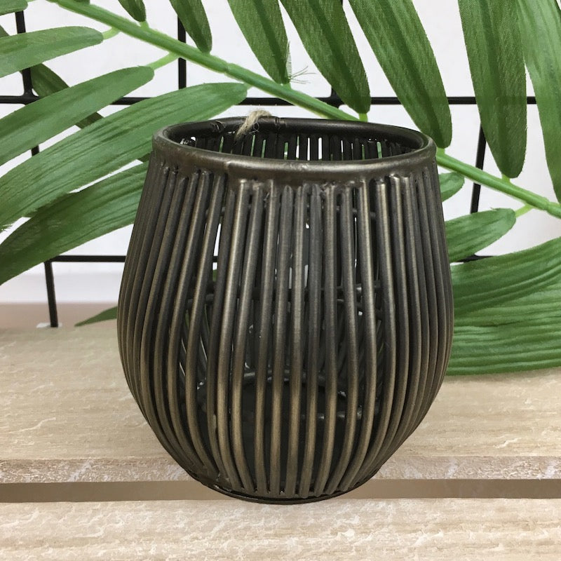 Bronze effect wire hurricane design tea light holder or vase