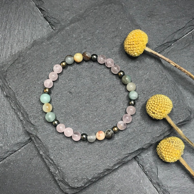 Rose Quartz and Amazonite Stretch Bracelet 6MM