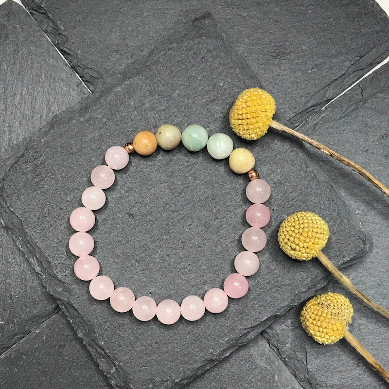 Rose Quartz and Amazonite Stretch Bracelet 8MM