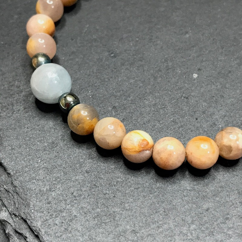 Sunstone and Aquamarine Stretch Bracelet 6MM
