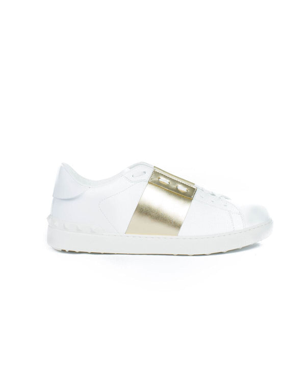 Valentino gold open low-top sneaker