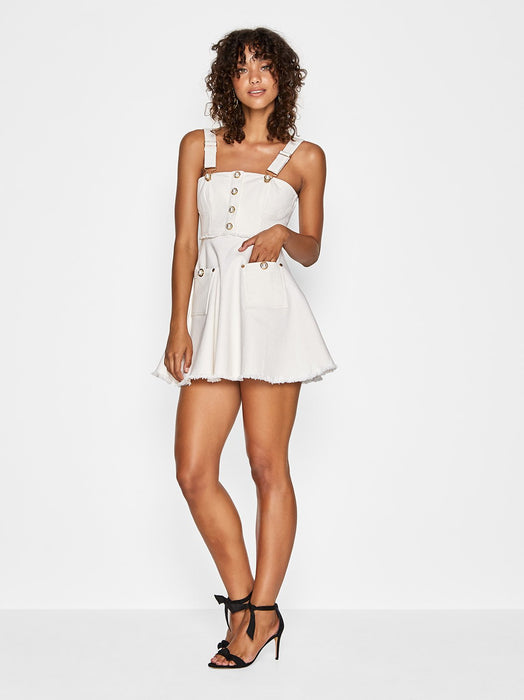 GIRL PEARL DRESS, CREME