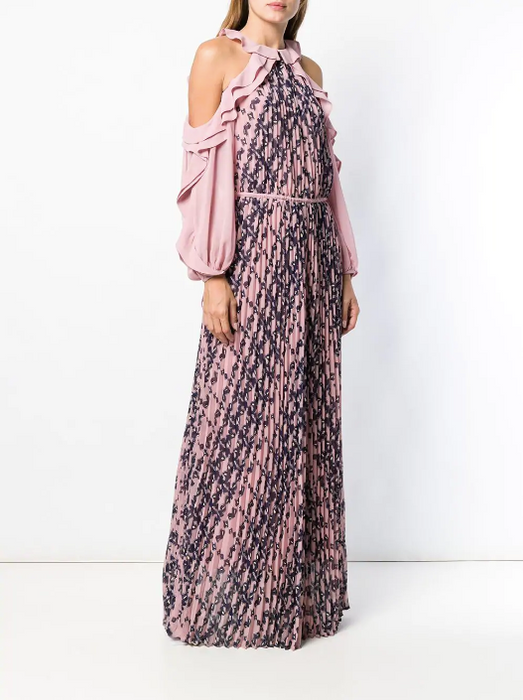 FRILL SLEEVES MAXI DRESS