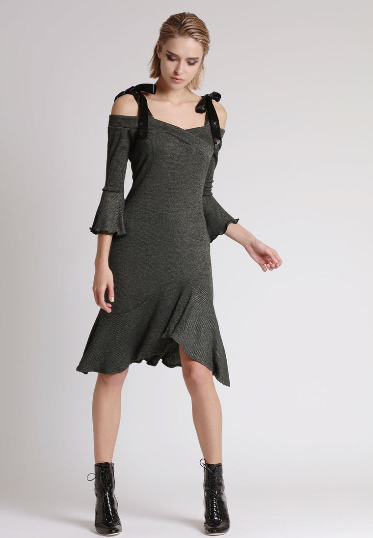 CHANDELIER FLARED DRESS, DARK GREEN