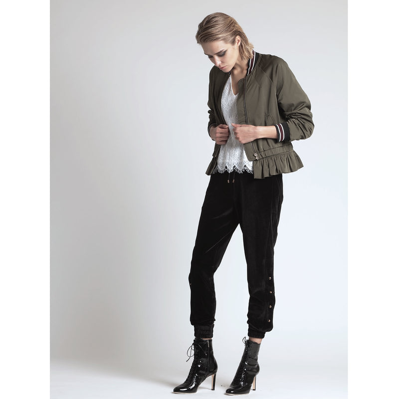 DETACHABLE RUFFLE BOMBER, MILITARY GREEN