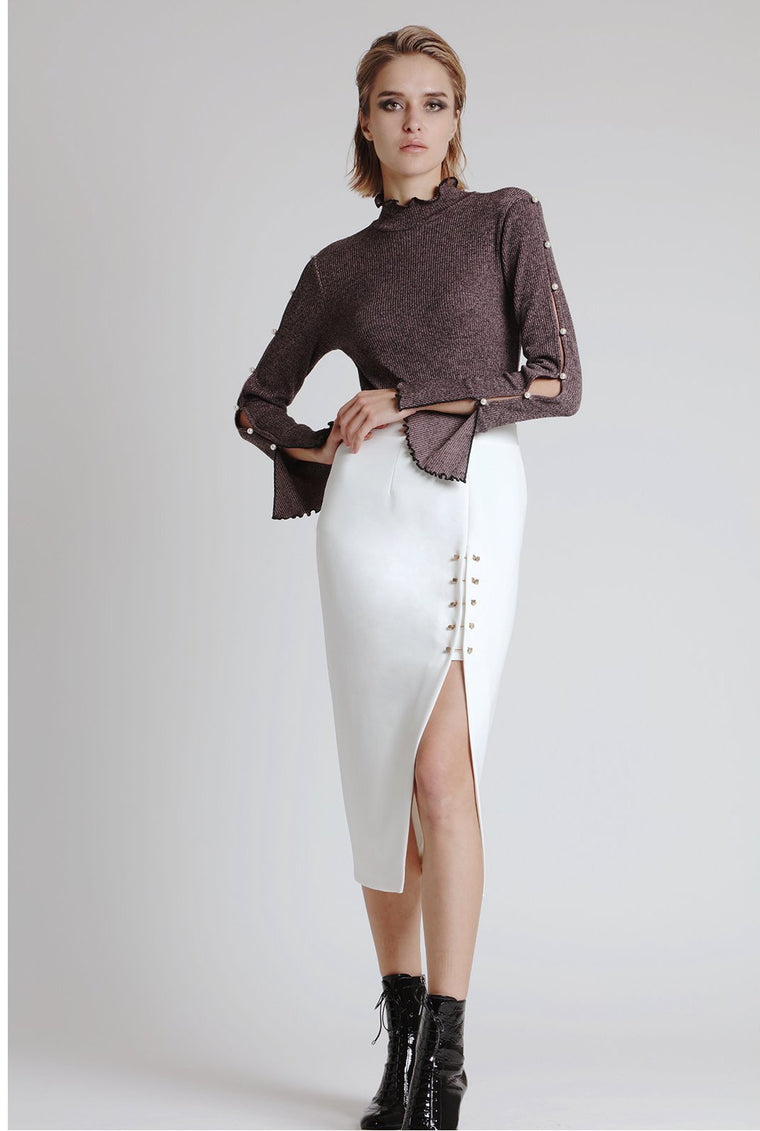 EMMA SPLIT SKIRT, OFF-WHITE