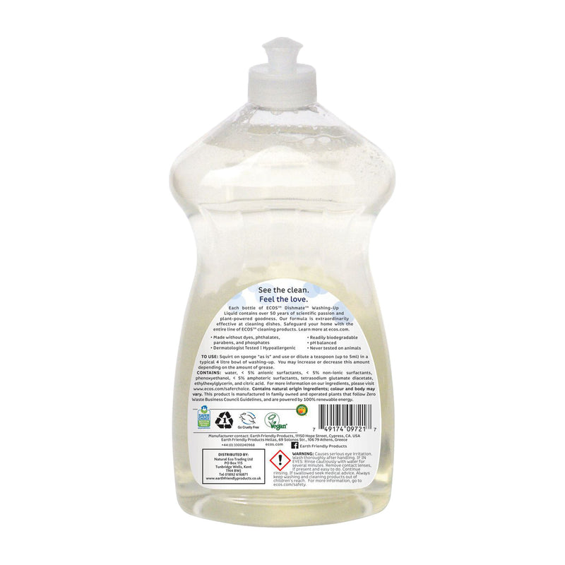 Earth Friendly Products ECOS Dishmate Fragrance Free Washing-Up Liquid back