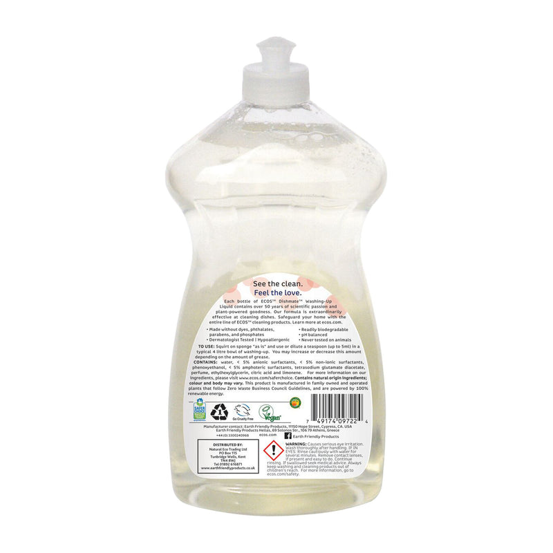 Earth Friendly Products ECOS Dishmate Grapefruit Washing-Up Liquid back