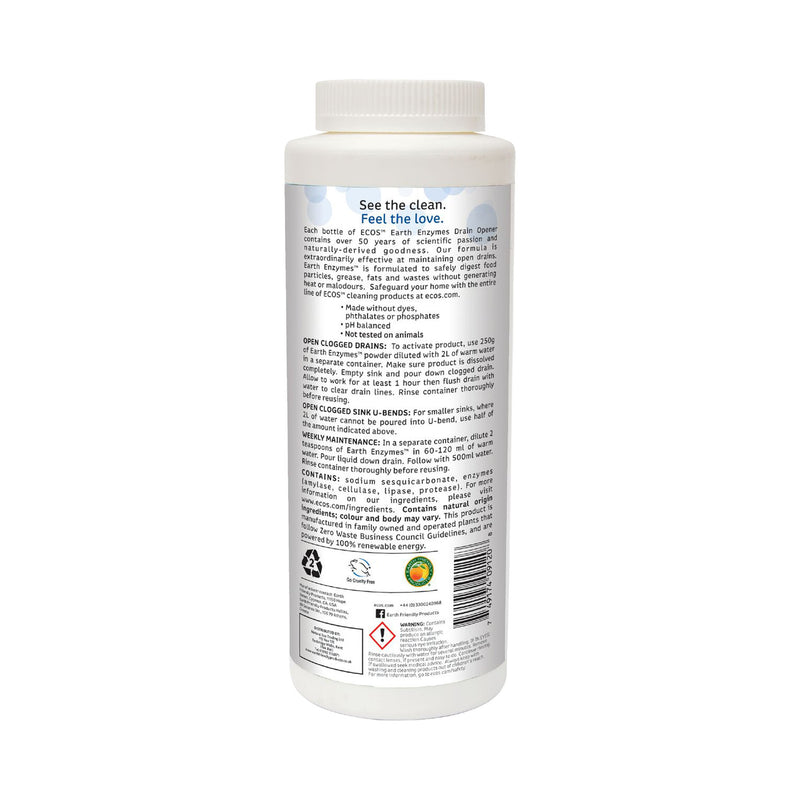 Earth Friendly Products ECOS Earth Enzymes Drain Cleaner back