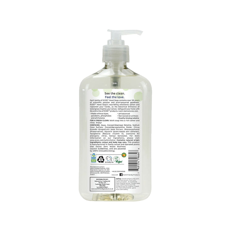 Earth Friendly Products ECOS Hand Soap Lemongrass back