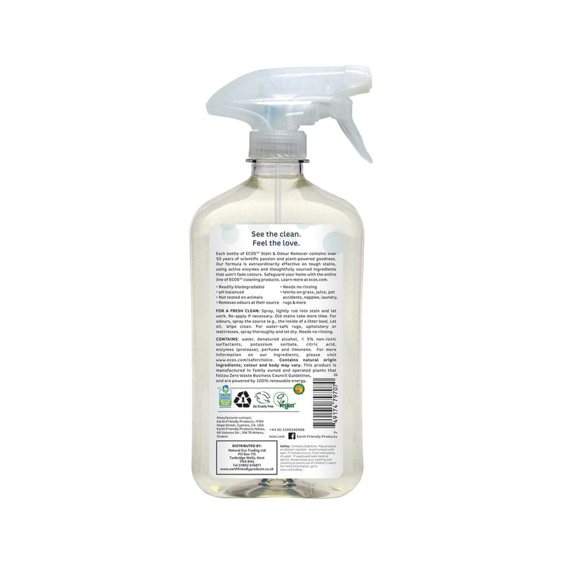 Earth Friendly Products ECOS Stain and Odour Remover back