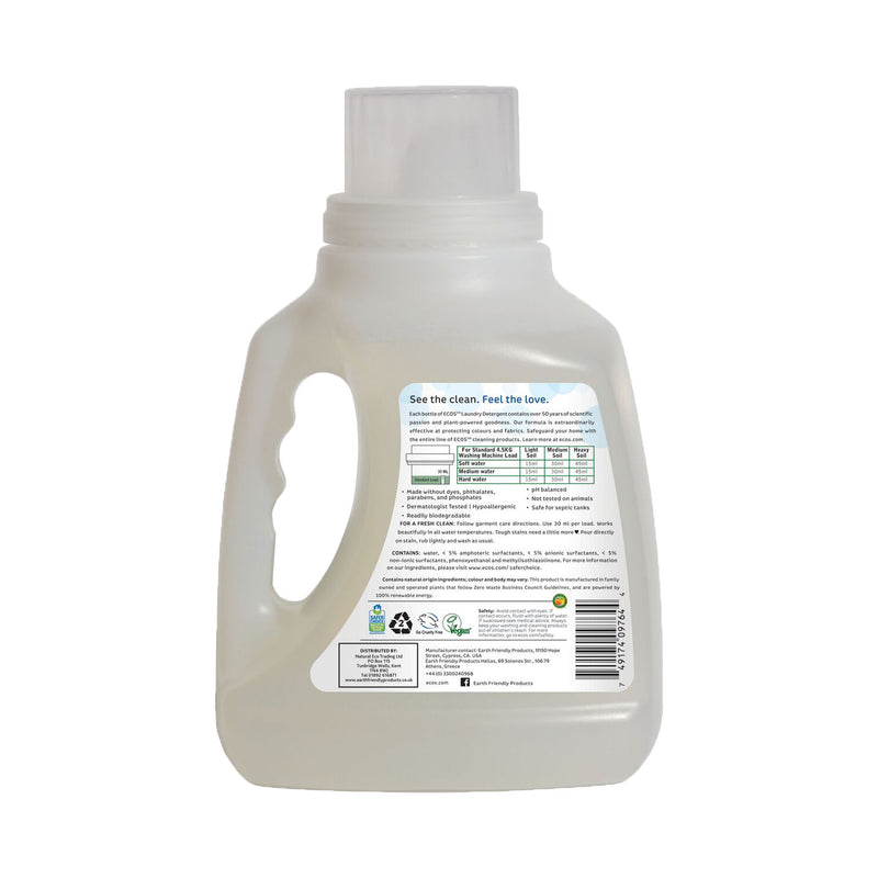 Earth Friendly Products ECOS Laundry Detergent Fragrance Free 1.5 Litre back