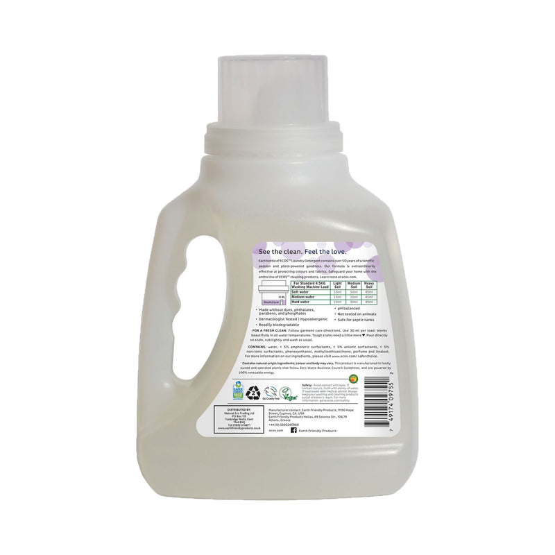 Earth Friendly Products ECOS Laundry Detergent Lavender 1.5 Litre back