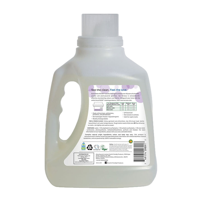 Earth Friendly Products ECOS Laundry Detergent 3 Litre Lavender back