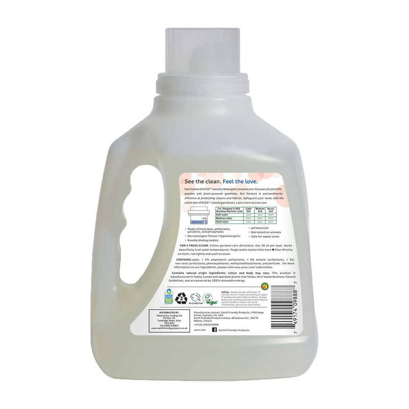 Earth Friendly Products ECOS Laundry Detergent 3 Litre Magnolia & Lily back