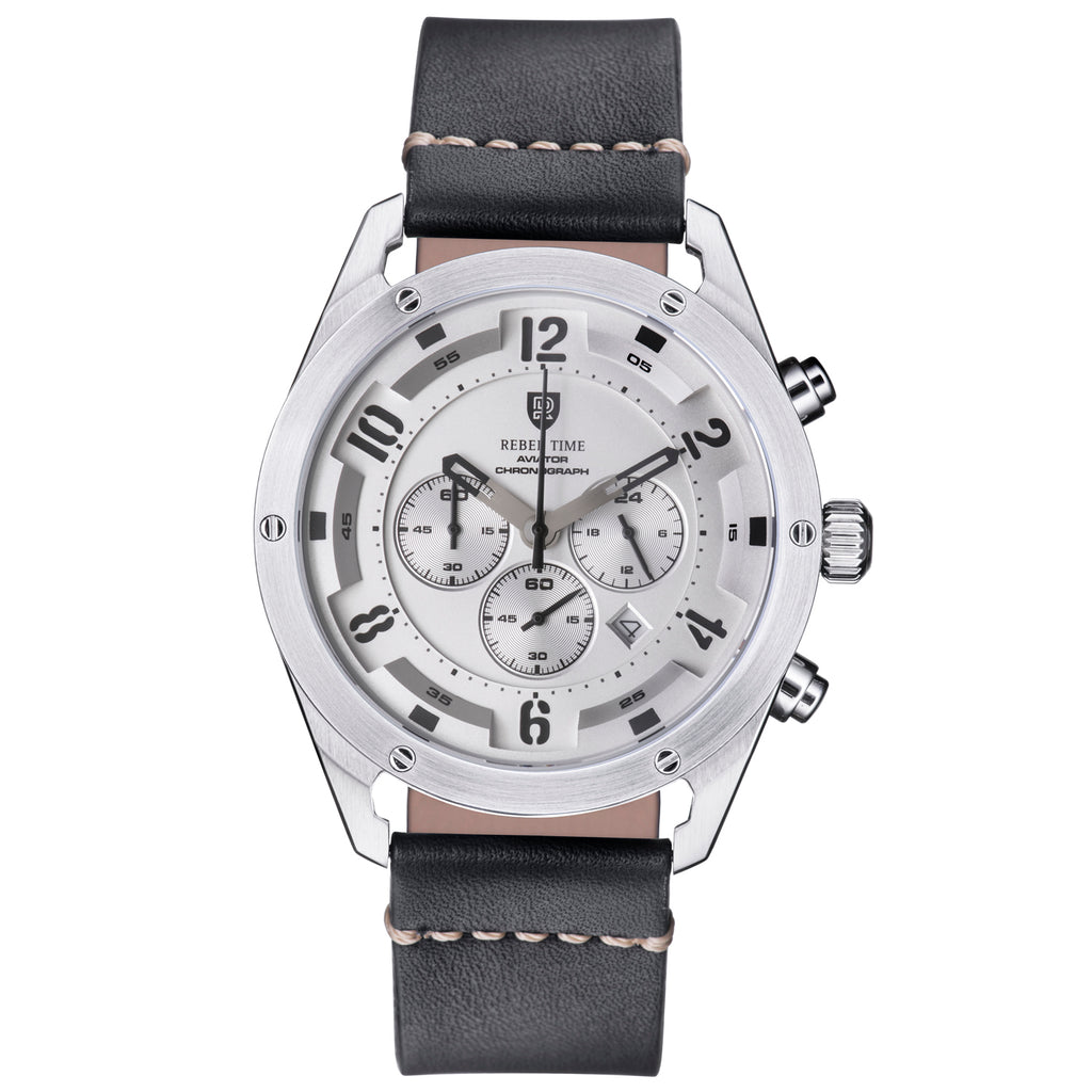Aviator Silver - Black Leather