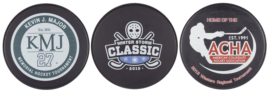 Custom Printed Logo Tournament Hockey Pucks Official Cheap