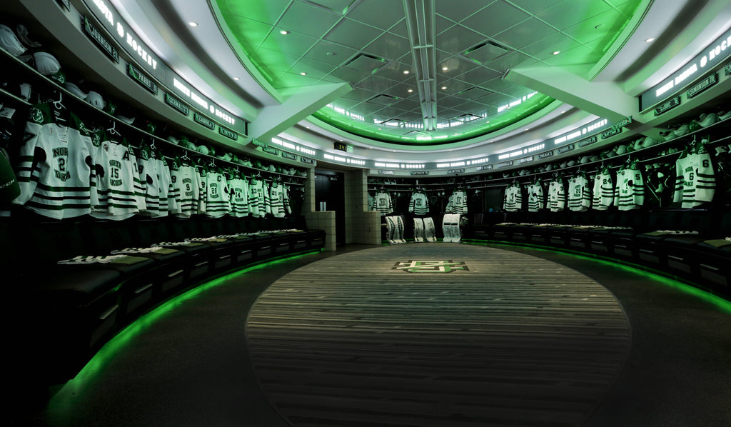 north dakota fighting sioux fighting hawks locker room led lights top 10 top ten locker rooms in college hockey