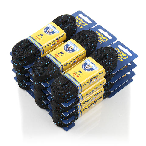 "Howies Black Waxed Hockey Skate Laces - Bulk 12pk  72"" 84"" 96"" 108"" 120"" - Howies Hockey Tape"
